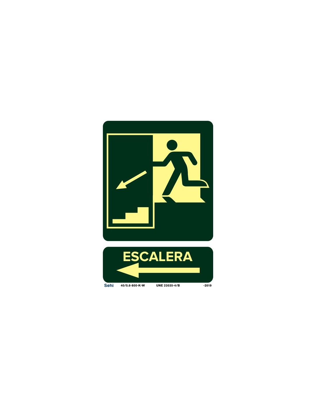 Señal A4 luminiscente PVC flecha indicación evacuación incendios L341