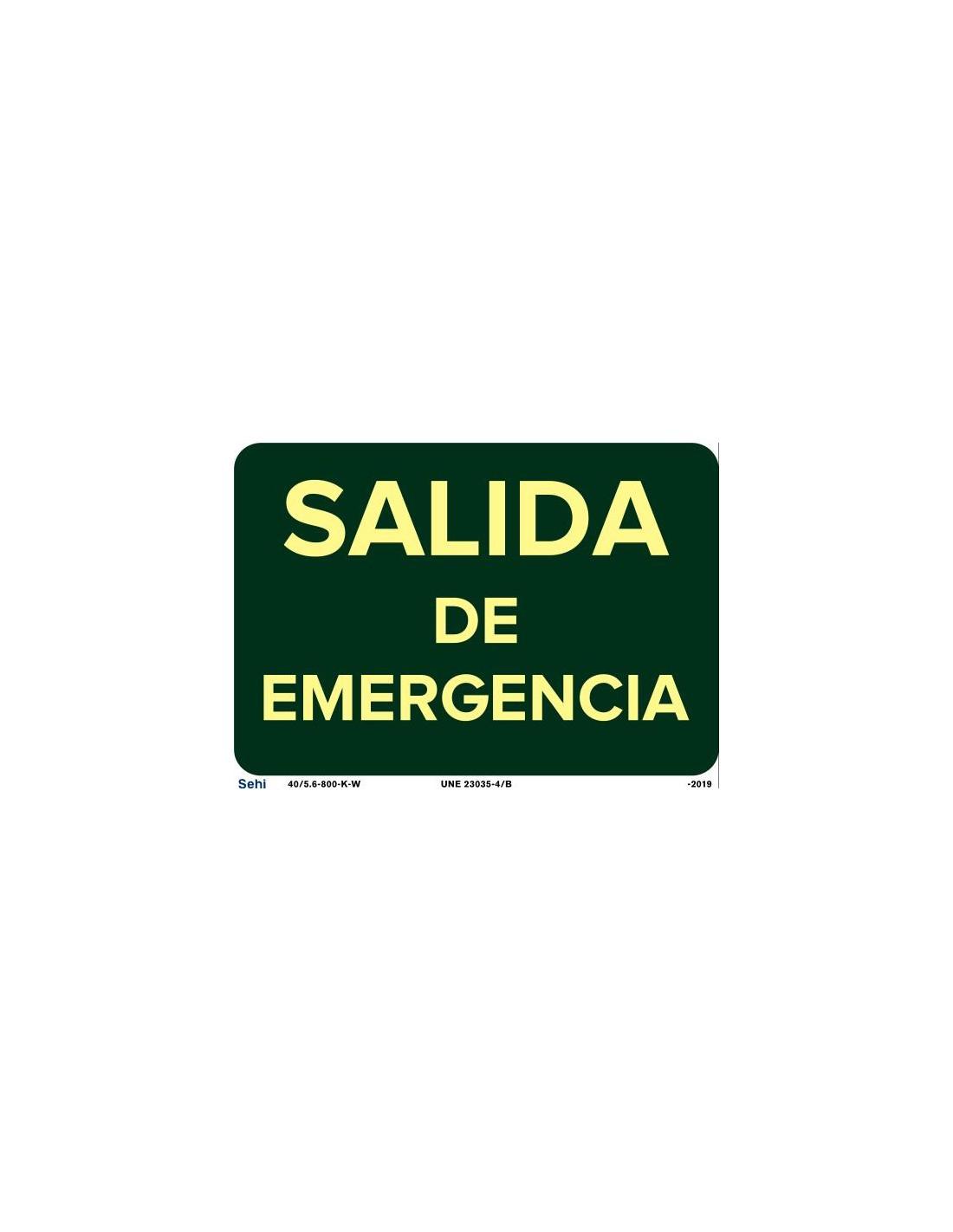 Señal 40x10cm PVC salida de emergencia L344