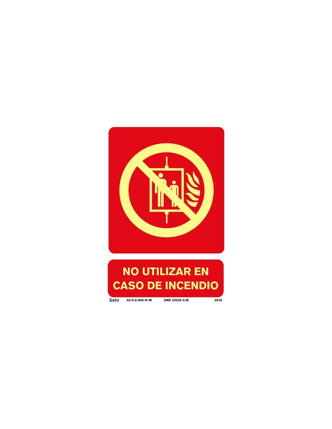 Señal A4 luminiscente PVC no utilizar en caso de emergencia L364